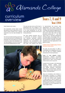 2016 Term 1 Years 7, 8, & 9 Curriculum Overview